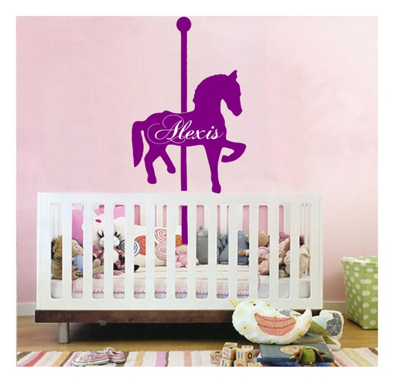personalized name // carousel horse // wall decal // sticker | etsy