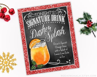 download dasher splash non alcoholic drink sign with red glitter border as is 8x10 printable instant download party decoration