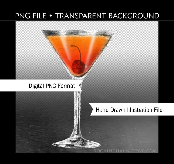 Digital Clip Art File Manhattan Martini With Cherry Hand Etsy