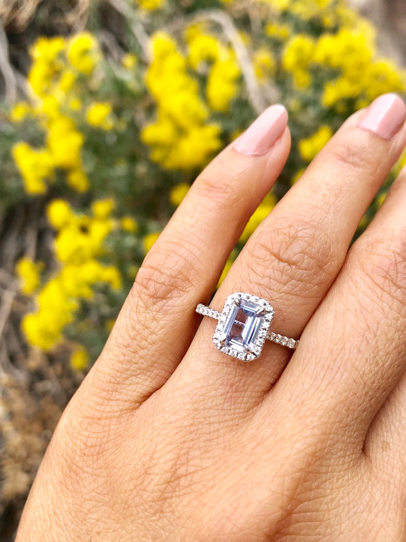 14kt White Gold Elongated Cushion Cut Natural Light Blue Sapphire Halo Diamond Engagement Ring