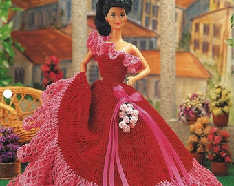 Annie's Fashion Doll Crochet Club Crochet Pattern for Barbie - Magic Moments Gown - Designed by Eileen Garrett NEW PATTERN