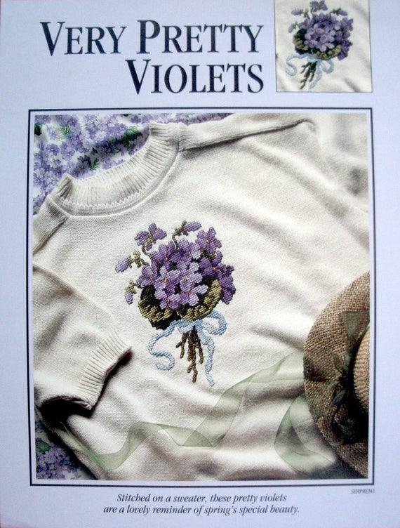 Very Pretty Violets Leisure Arts 1994 Cross stitch pattern
