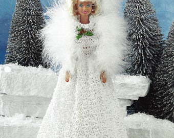 Snow Gown Crochet Pattern from Annie's Fashion Doll Crochet Club - 3 Hole Punched - NEW Pattern Designed by Beverly Mewhorter  - #FC34-01