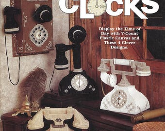 The Needlecraft Shop Plastic Canvas Pattern #933350 - ANTIQUE PHONE CLOCKS - 7 Count Plastic Canvas, 4 Styles - Designed by Diane T. Ray