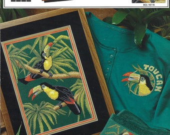 True Colors Cross Stitch Pattern BCL-10118 - Bold Spirits Toucans - Designed by Phyllis Taylor - Multiple Projects MINT Condition