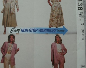 Misses Unlined Jacket, Top, Skirt & Pants Sizes 12-14-16 McCalls Easy Non-Stop Wardrobe Pattern 6338 Select-A-Size Petite-Able NEW UNCUT '93