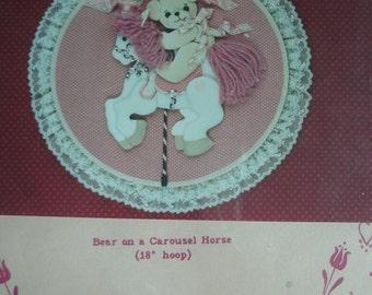 """Bear on a Carousel Horse (18"""" Hoop) No-Sew Series Pattern 113 from Yours MIne and Ours Johnson and Chase Copyright 1986 NEW PATTERN"""