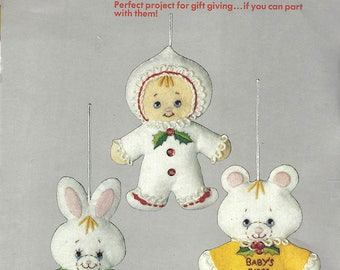 Columbia-Minerva Vintage Felt Sequin Ornaments Kit #7479 Baby's First Christmas Kit Has Everything to Make Ornaments Dated 1983
