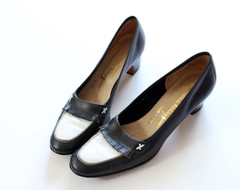 cfb721c4f72 Size 8 Vintage Salvatore Ferragamo Loafer Style Pump Heel In Navy and White  with Fringe