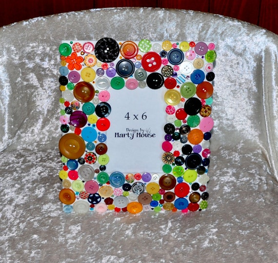 Button Picture Frame4x6 Button Frameframes Buttonhappy Etsy
