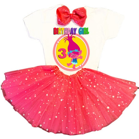 NAME Trolls Third 3rd 3 Bday Shirt Poppy Fuchsia Tutu Dress