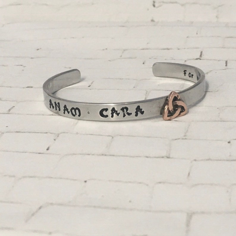 Anam Cara- Soul friend Celtic knot handstamped cuff bracelet- Best Friend  Trinity Celtic knot bracelet