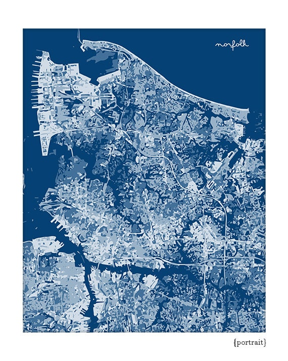 Norfolk VA Cityscape Art / Virginia Map Print City Wall Art / 8x10 Poster /  Choose your color