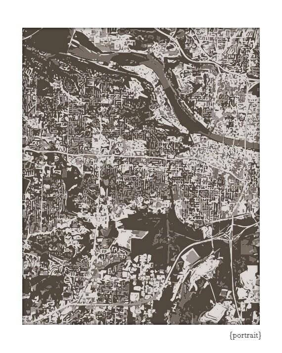 Little Rock Cityscape / Arkansas Map Art Print City Wall Art / | Etsy