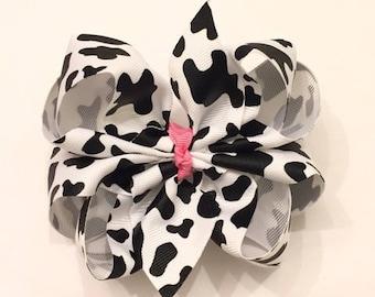 Cow Hair Bow  Cow Print Bow  Farm Animal Bow  Barnyard Party  Farm & Cow birthday party | Etsy