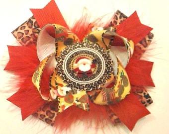 Santa Leopard Hair Bow , Christmas Hair Bow , Stacked Hair Bow , Red Leopard Hair Bow , Leopard Christmas Bow