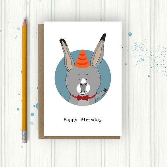 Donkey Birthday Card Birthday Card For Child Card For Him Etsy
