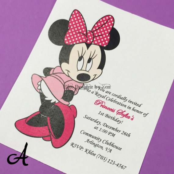 Minnie Birthday Invitation Mouse