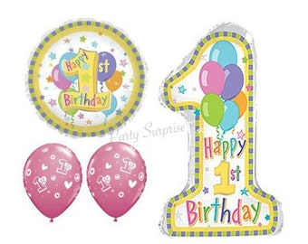 1107dead6c5 1st Birthday Balloons Girl Pastel Mylar Foil Jumbo Number 1 Balloon Package  Pink 1st Birthday Girl Party Balloons Select Your Package