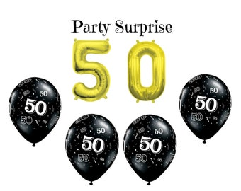 50th Birthday Party Balloons 50 Gold Air Filled Number Black And