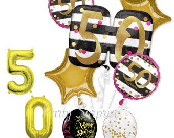 50th Birthday Balloon Package Mylar Latex Black Gold Party Decorations Bouquet