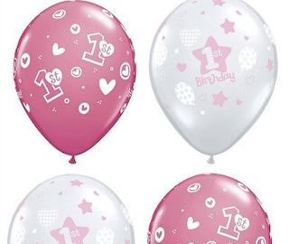 1st Birthday Girl Clear And Pink Latex Balloons One Year Old