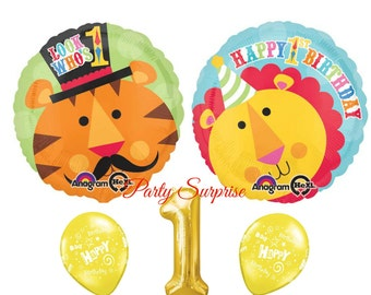 1st Birthday Balloons Girl Boy Fisher Price Lion Tiger Happy Party Gold 1 Balloon Year Old