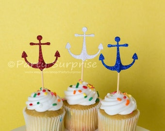 169c73ae4ff Cupcake Toppers Anchors Nautical Glitter Wedding Bachelor Party Baby Shower  Boating Sailing Birthday Patriotic Glitter Anchor cupcake topper