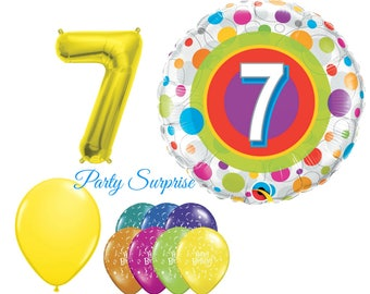 7th Birthday Balloon Package 7 Years Old Girl Boy Party Balloons Happy Kids