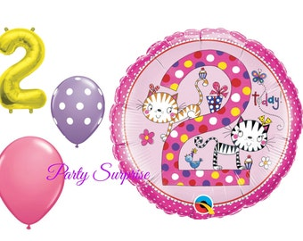 2nd Birthday Balloon Package Girl 2 Years Old Balloons Party Cats Pink Purple