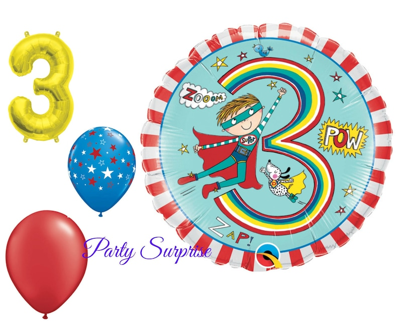 3rd Birthday Balloons Boy Superhero Package 3 Years Old