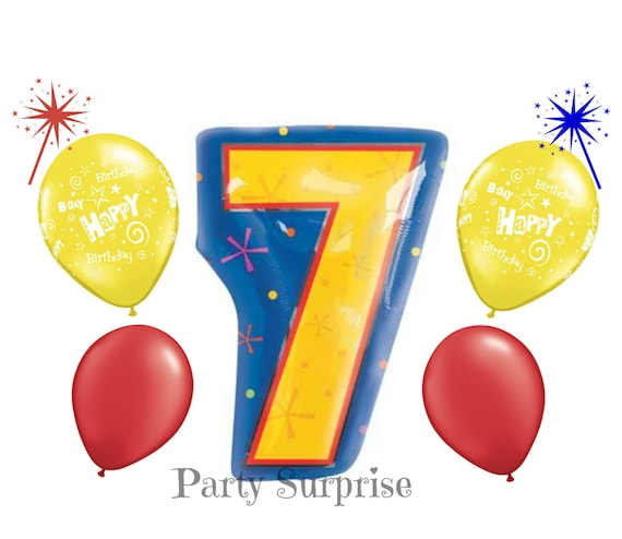 7th Birthday Balloons Mylar Foil 7 Balloon Happy
