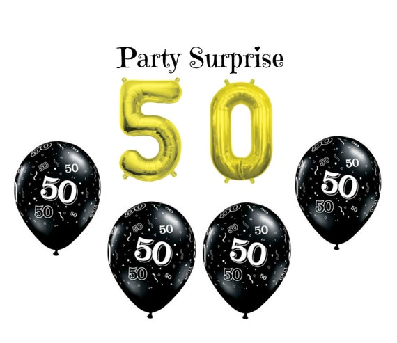 50th Birthday Party Balloons 50 Gold Air Filled Number