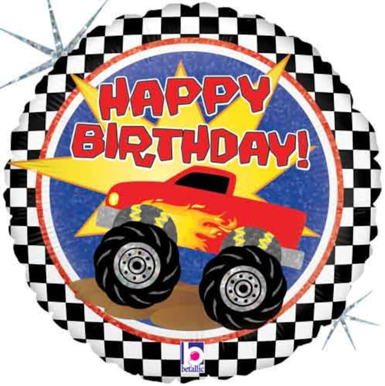 Monster Truck Happy Birthday Balloon Package Men Boy