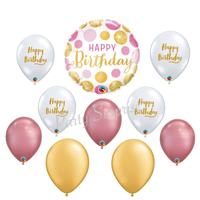 Happy Birthday Balloon Package Women Gold Pink Diamond Clear Chrome Mylar And Latex Woman Party Balloons