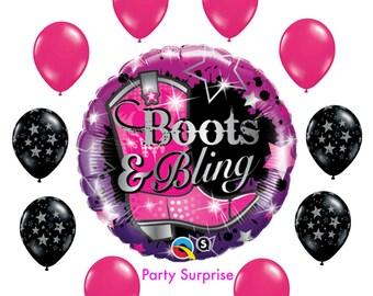 Girls Bling Cowboy Balloons, Boots and Bling Party Balloons, Bridal Shower Bridesmaid Party Cowboy Cowgirl Party, Farm Party Balloons
