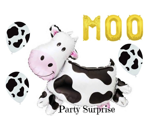 farm cow balloon black cow print balloons farm party decorations ...