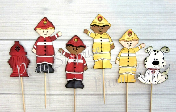 Firefighter Cupcake Toppers Firefighter Party Supplies Cake Cupcake Toppers Decorations Graduation Party Birthday Retirement First Responder