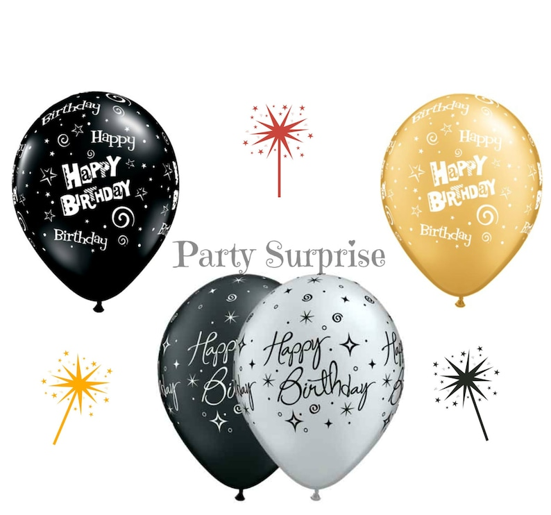 Birthday Balloons Black Gold Metallic Silver Adult