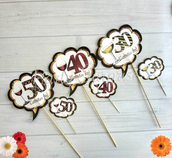 50th Birthday Anniversary Cupcake Toppers Cake Custom