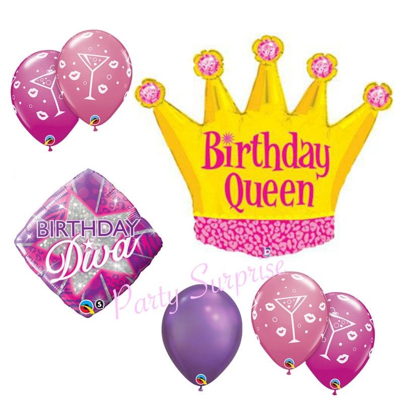 Birthday Queen Balloon Package Crown Diva Women