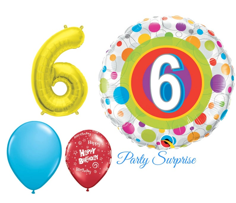 6th Birthday Balloon Package Boy Girl 6