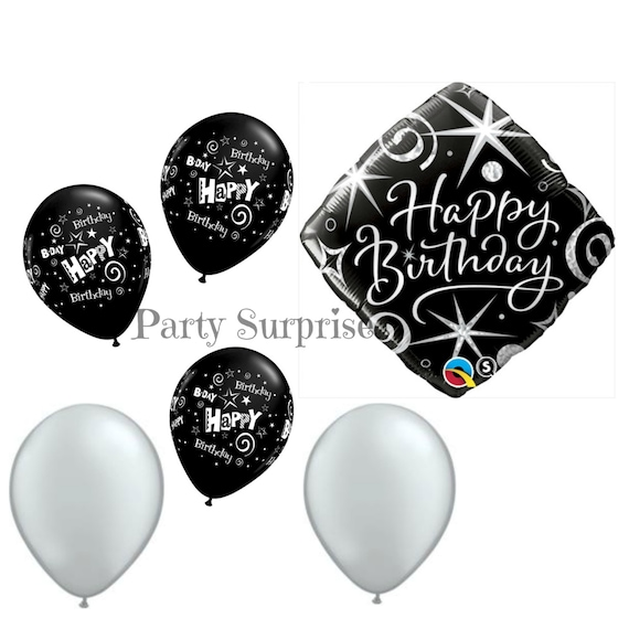 Happy Birthday Balloon Package Black And Silver Adult Men