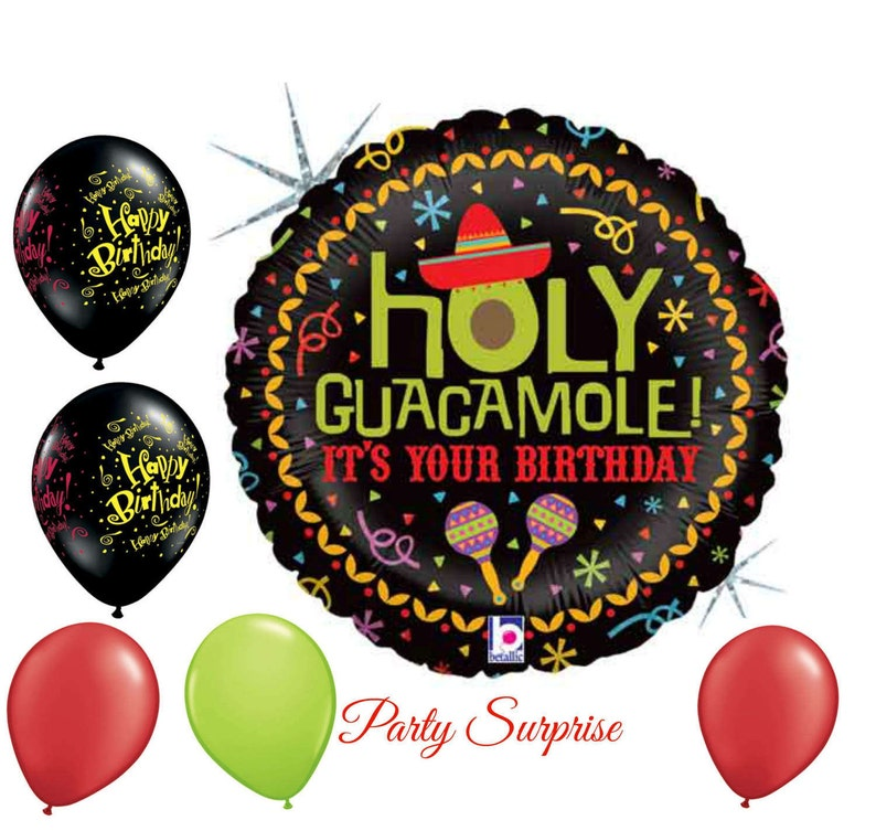 440bb4a59b10 Holy Guacamole Birthday Balloon Package men women kids