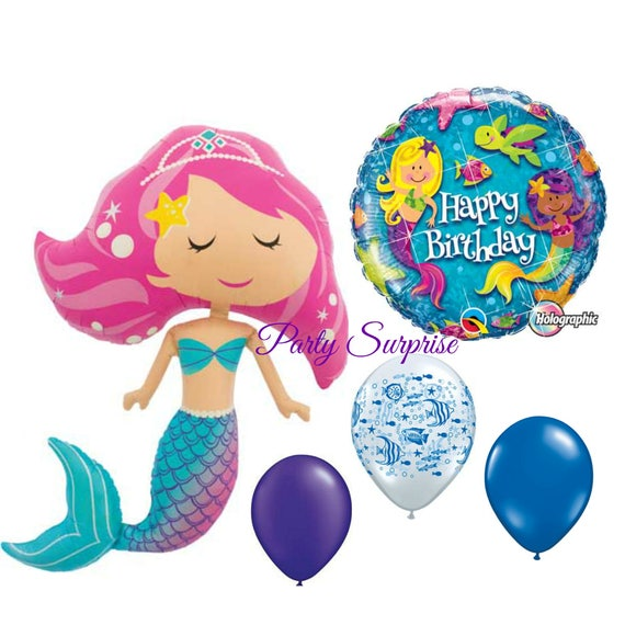 Mermaid Birthday Balloon Package Jumbo 45 Mylar Foil Girl Party Under The Sea Balloons