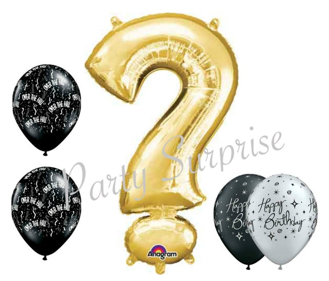 Over The Hill Birthday Balloons Adult Birthday Party Question Etsy