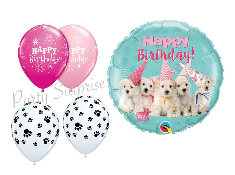 Dog Puppies Happy Birthday Balloon Package Maltese Poodle