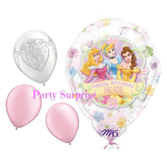 Princess Cinderella Birthday Balloons Personalized Custom Name Balloon Girl Party Decorations