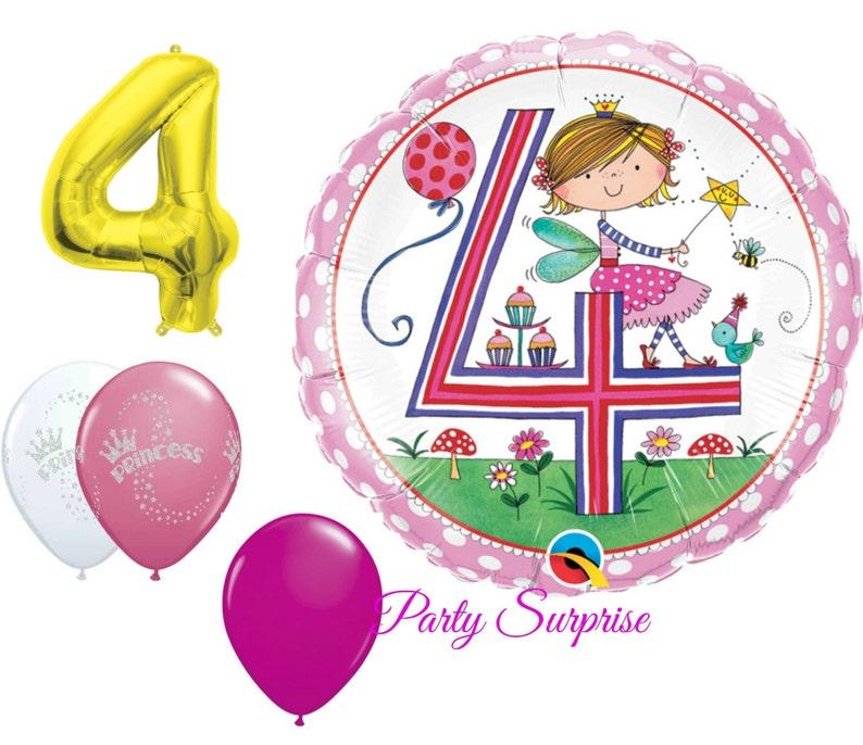 4th Birthday Balloons Girl Princess Party 4