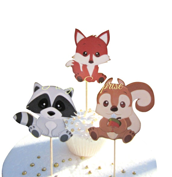 Custom Colour Glitter.First Birthday Party Decoration 12 Cake Toppers. Woodland Animal Cupcake Toppers Bird Squirrel Hedgehog